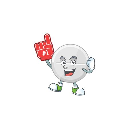 Cartoon character concept of white pills holding red foam finger