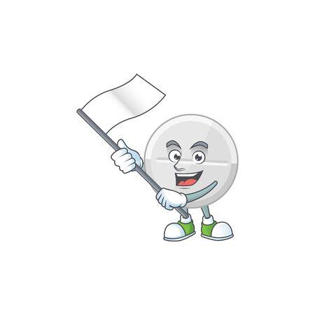 Cute cartoon character of white pills holding white flag Vecteurs