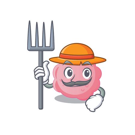 Cartoon character design of anaplasma phagocytophilum as a Farmer with hat and pitchfork. Vector illustration
