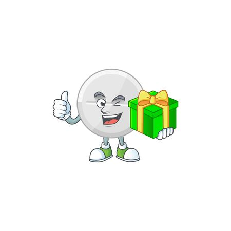 Smiley white pills cartoon character holding a gift box