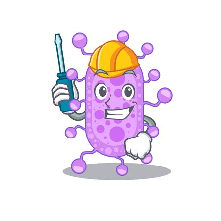 cartoon character of mycobacterium worked as an automotive. Vector illustration