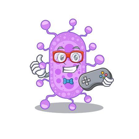 Mascot design concept of mycobacterium gamer using controller. Vector illustration Illustration