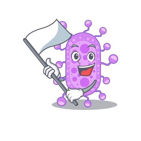 A nationalistic mycobacterium mascot character design with flag