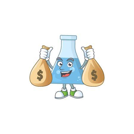 Blissful rich blue chemical bottle cartoon character having money bags. Vector illustration