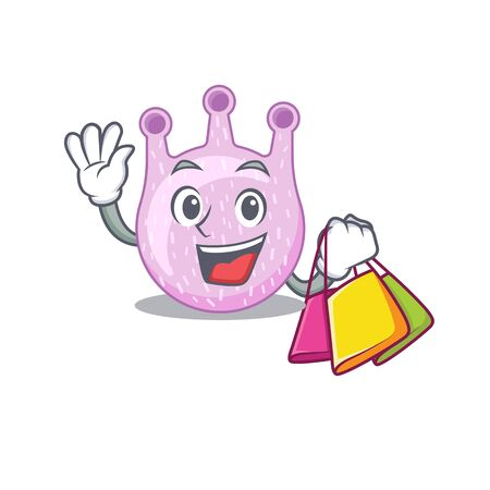Rich and famous viridans streptococci cartoon character holding shopping bags. Vector illustration