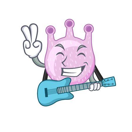 Talented musician of viridans streptococci cartoon design playing a guitar. Vector illustration