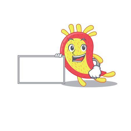 Azorhizobium caulinodans cartoon character design style with board
