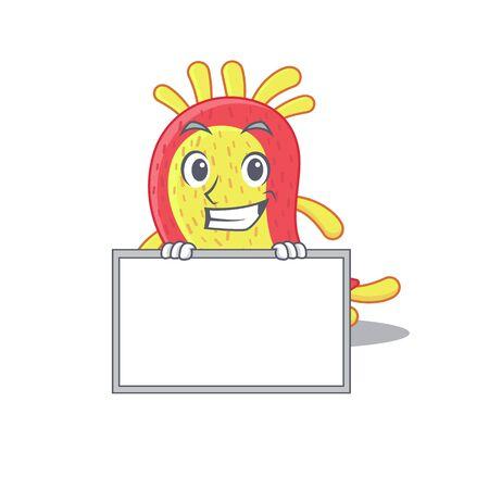 Smiling azorhizobium caulinodans cartoon design style has a board