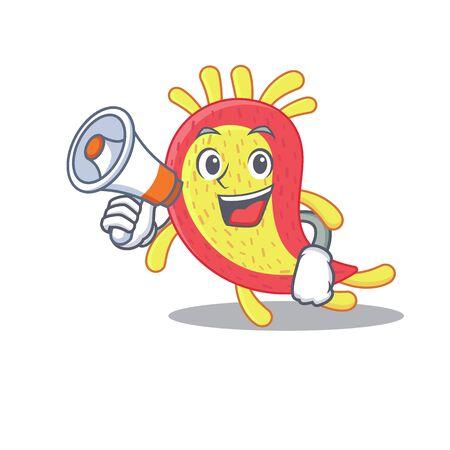 Cartoon character of azorhizobium caulinodans having a megaphone