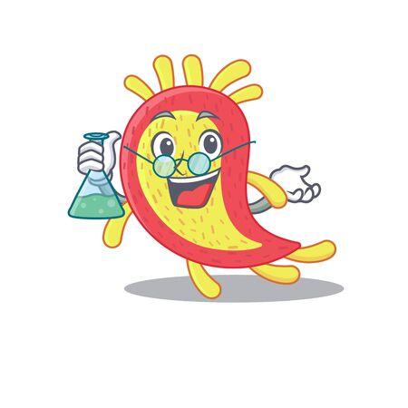 Azorhizobium caulinodans smart Professor Cartoon design style working with glass tube