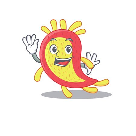 A charismatic azorhizobium caulinodans mascot design style smiling and waving hand Vectores