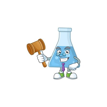 Charismatic Judge blue chemical bottle cartoon character design with glasses. Vector illustration