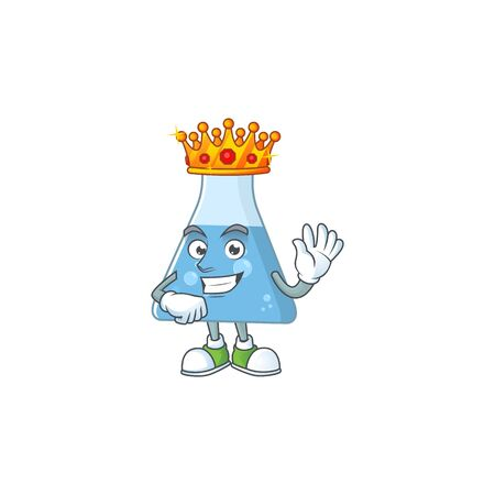 The Charismatic King of blue chemical bottle cartoon character design wearing gold crown. Vector illustration
