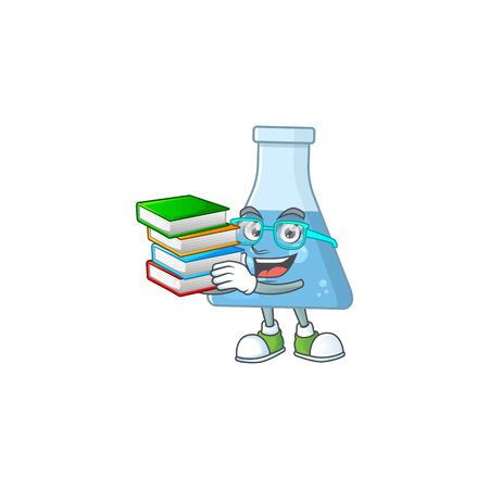 A mascot design of blue chemical bottle student character with book. Vector illustration