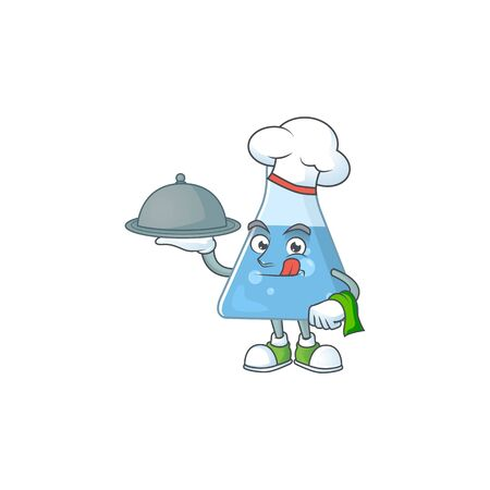 A blue chemical bottle chef cartoon design with hat and tray. Vector illustration
