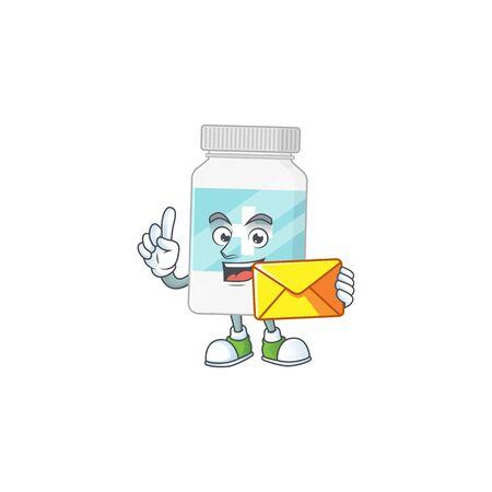 Cute face supplement bottle mascot design bring brown envelope. Vector illustration