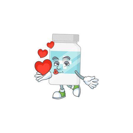 An adorable cartoon design of supplement bottle holding heart. Vector illustration