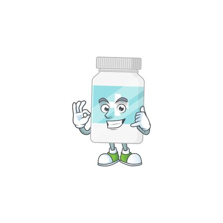 Supplement bottle mascot cartoon design make a call gesture. Vector illustration