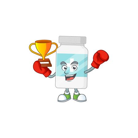 Proudly face of boxing winner supplement bottle presented in cartoon character design. Vector illustration
