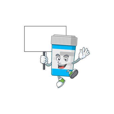 Sweet medical bottle cartoon character rise up a board