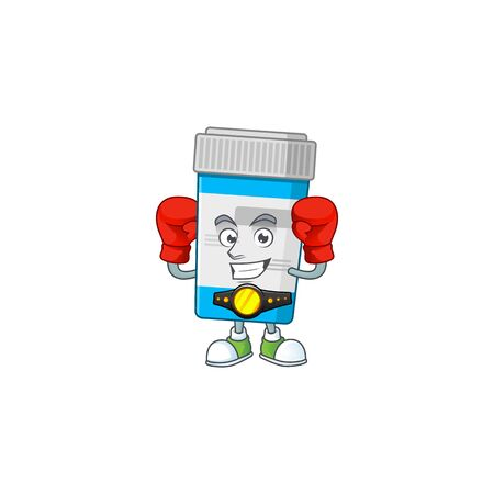 A sporty medical bottle boxing athlete cartoon mascot design style