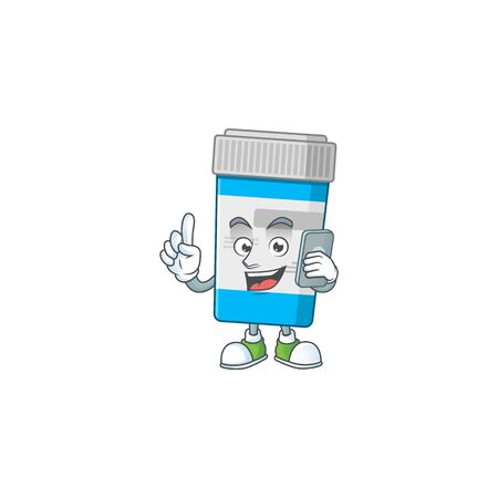 Cartoon design concept of medical bottle talking on phone