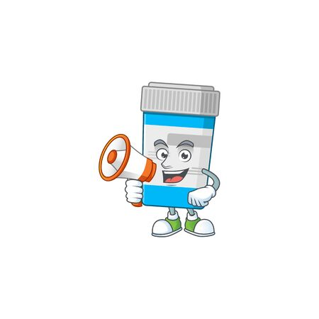 A picture of medical bottle cartoon design style speaking on a megaphone