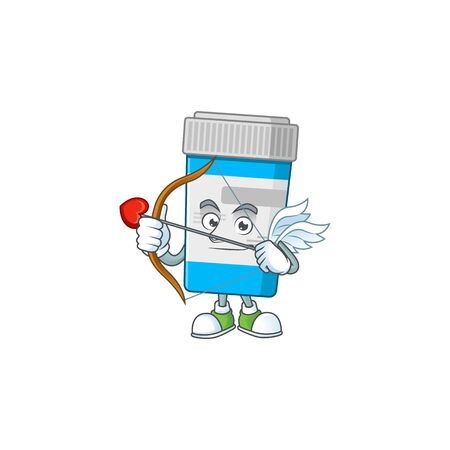 Charming picture of medical bottle Cupid mascot design concept with arrow and wings