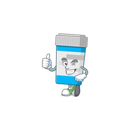 Mascot design style of medical bottle showing Thumbs up finger