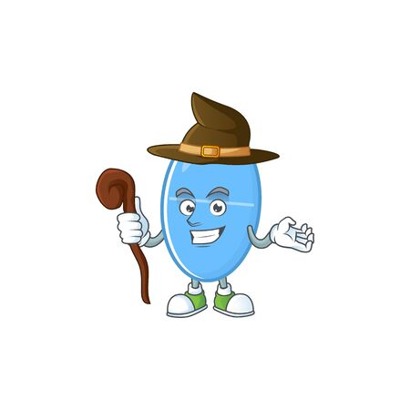 Cute and sneaky Witch blue capsule cartoon design style. Vector illustration Ilustração
