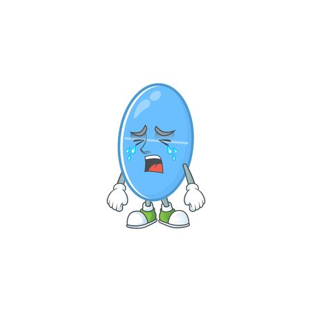 A weeping blue capsule cartoon character concept. Vector illustration