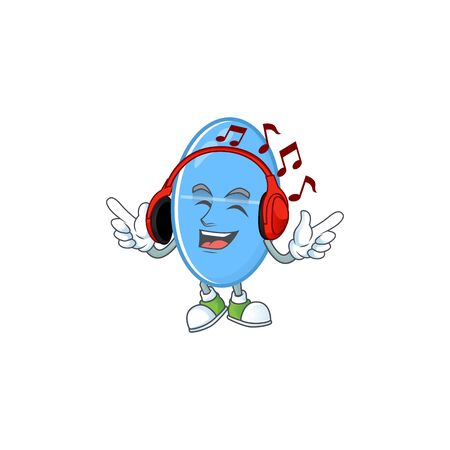 Cartoon mascot design blue capsule enjoying music with headset. Vector illustration