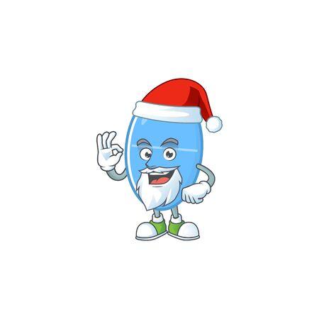 Friendly blue capsule Santa cartoon character design with ok finger. Vector illustration Ilustração