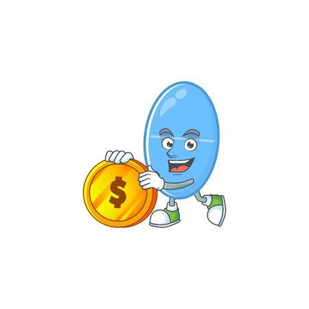Blue capsule rich cartoon character have big gold coin. Vector illustration Ilustração