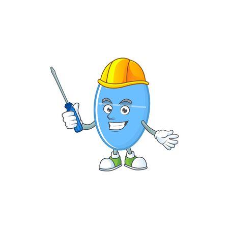 Smart automotive blue capsule presented in mascot design style. Vector illustration Ilustração