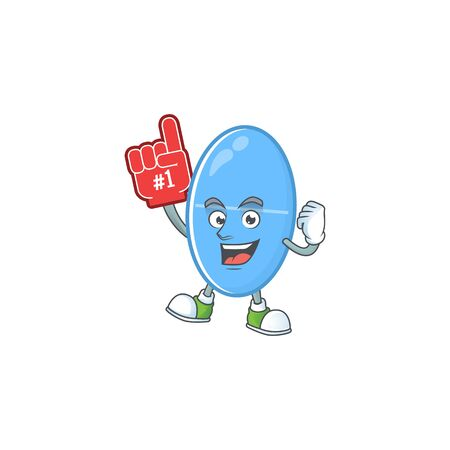 Cartoon character concept of blue capsule holding red foam finger. Vector illustration