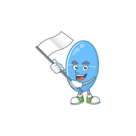 Cute cartoon character of blue capsule holding white flag. Vector illustration Ilustração