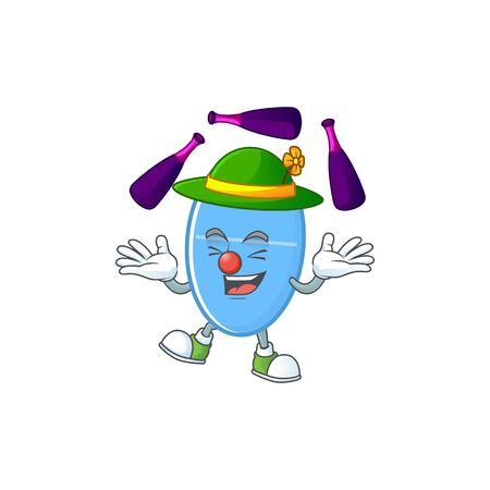 mascot cartoon style of blue capsule playing Juggling on stage. Vector illustration