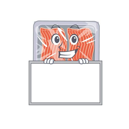 Smiling frozen salmon cartoon design style has a board