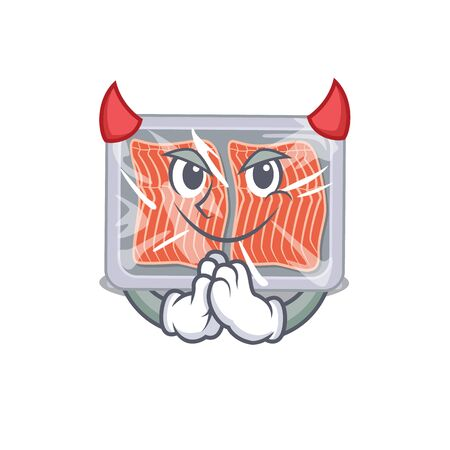Frozen salmon dressed as devil cartoon character design style