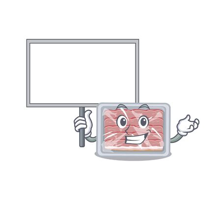 An icon of frozen smoked bacon mascot design style bring a board Illustration