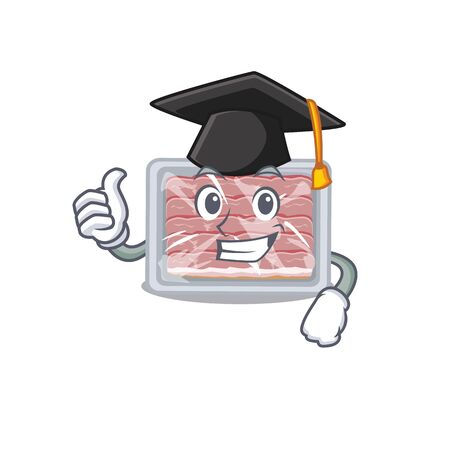 Happy face of frozen smoked bacon in black graduation hat for the ceremony
