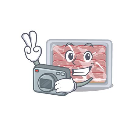 Frozen smoked bacon mascot design as a professional photographer working with camera