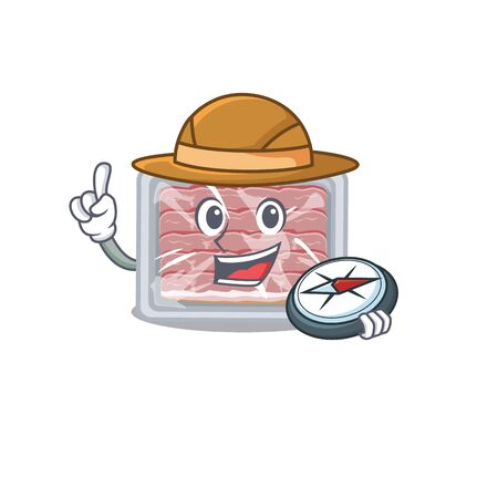 mascot design concept of frozen smoked bacon explorer with a compass
