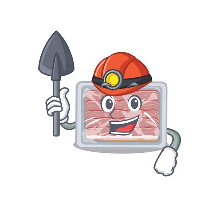 Frozen smoked bacon miner cartoon design concept with tool and helmet  イラスト・ベクター素材
