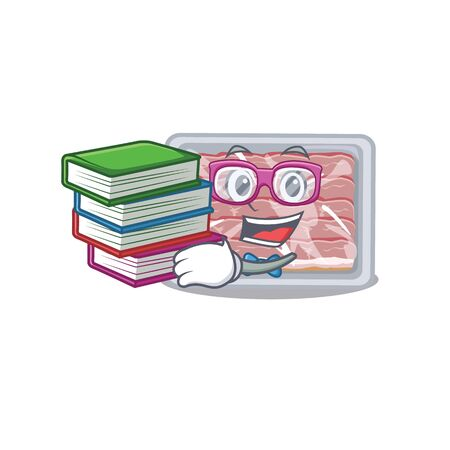 A diligent student in frozen smoked bacon mascot design concept with books