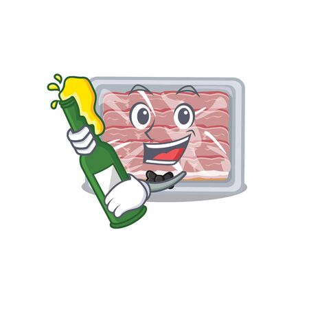 Mascot character design of frozen smoked bacon say cheers with bottle of beer