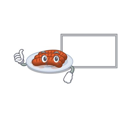 Humorous grilled sausage cartoon design Thumbs up bring a white board