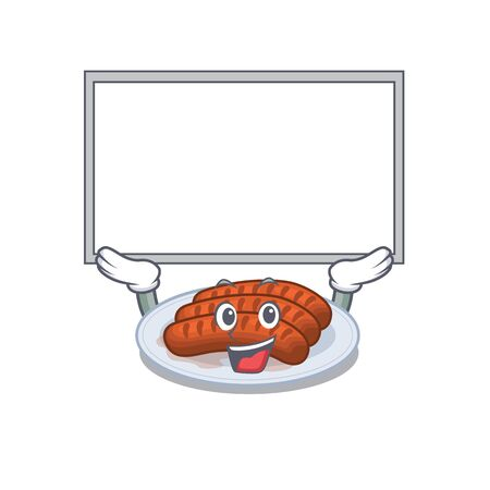 Mascot design of grilled sausage lift up a board Stock Illustratie