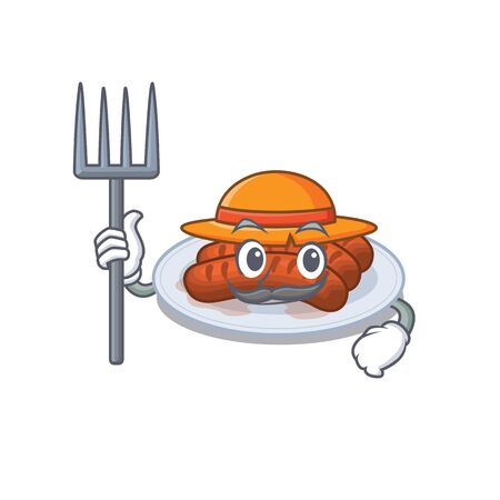 Cartoon character design of grilled sausage as a Farmer with hat and pitchfork